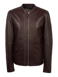 Pretty Green Men's Addison Leather Biker Burgundy