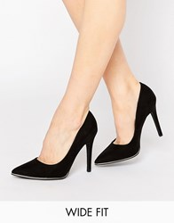 New Look Wide Fit Pointed Court Shoes Black