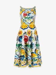 Dolce And Gabbana Sleeveless Maiolica Print Cotton Dress White Multi Coloured Blue Yellow Capri