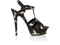 Saint Laurent Women's Tribute Python Platform Sandals Black Silver Gold Grey