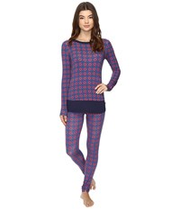 Josie Mingle Printed Modal Double Trouble Pj Blue Shadow 1 Women's Pajama Sets Purple