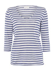 Part Two V Neck Stripe Top With Pocket Blue