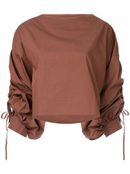 Aula Ruched Sleeve Top Brown