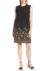 Everleigh Pintuck Embroidered Shift Dress Black Olive