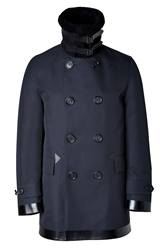 Burberry Cotton Lanseer Coat With Leather Trim And Fur Collar