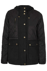Topshop Lightweight Quilted Jacket Black