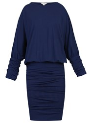 Jolie Moi Batwing Ruched Tunic Dress Navy