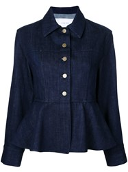 Le Ciel Bleu Denim Peplum Jacket Blue