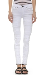 Rag And Bone The Pieced Skinny Jeans Torn White