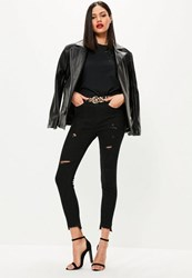 Missguided Black High Waisted Stepped Hem Ripped Skinny Jeans