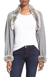 Women's La Fiorentina Wool And Cashmere Capelet With Genuine Rabbit Fur Trim