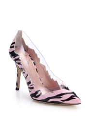 Moschino Cheap And Chic Pvc Paneled Zigzag Zebra Print Leather Pumps Pink Black