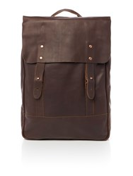 Lyle And Scott Leather Rucksack Brown
