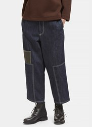 Marni Contrast Stitched Wide Patch Jeans Navy