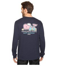 Vineyard Vines Long Sleeve Hanukkah Whale Pocket T Shirt Blue Blazer Men's T Shirt