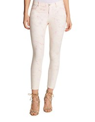 Jessica Simpson Printed Five Pocket Cropped Jeans White