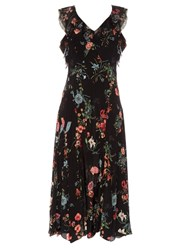 Rebecca Taylor Meadow Floral Sleeveless Ruffled Dress Black Print