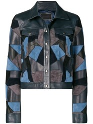 Diesel Black Gold Cropped Jacket With Suede Patchwork Blue