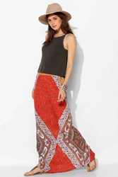 Staring At Stars Straight Cut Boho Print Maxi Skirt Orange