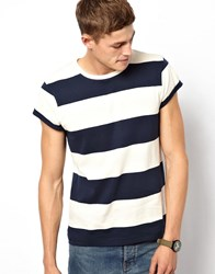 Asos Stripe T Shirt With Roll Sleeve Navy Off White Blue