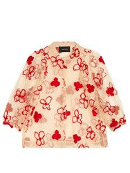 Simone Rocha Spooky Flower Embroidered Blouse Red Multi