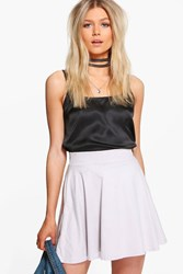 Boohoo Lucia Suedette Skater Skirt Grey