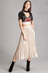 Forever 21 Satin Accordion Pleated Skirt