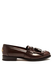 Gucci Tassel Leather Loafers Brown