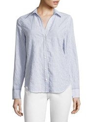 Vineyard Vines Striped Linen And Cotton Shirt Moonshine