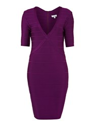 Untold Knitted Bandage With Sleeve Dress Purple