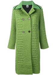 M Missoni Double Breasted Fitted Coat Green