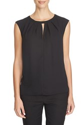 Women's Cece By Cynthia Steffe Keyhole Cutout Crepe Blouse Rich Black