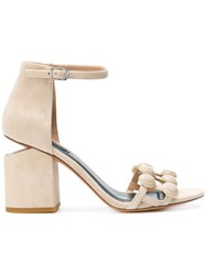 Alexander Wang Abby Dome Stud Sandals Suede Leather Nude Neutrals