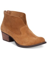 Jessica Simpson Dacia Perforated Booties Women's Shoes Honey Brown