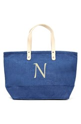 Cathy's Concepts 'Nantucket' Personalized Jute Tote Blue Blue N