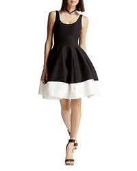 Halston Heritage Faille Color Blocked Tulip Skirt Dress Black Bone