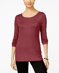 Cable And Gauge Long Sleeve Knit Top Burgundy