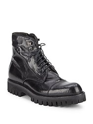 Jo Ghost Cap Toe Lace Up Leather Boots Black