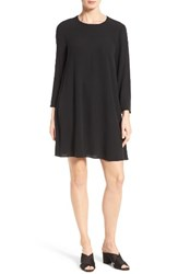 Eileen Fisher Women's Silk Georgette Crepe Shift Dress Black