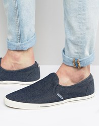 Jack And Jones Snake Slip On Plimsolls Blue