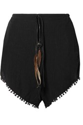 Caravana Tizimin Leather And Feather Trimmed Fringed Cotton Gauze Shorts Black