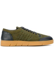Loewe Contrast Panel Sneakers Calf Leather Leather Rubber Green