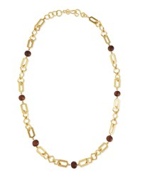 Connection Link And Wooden Bead Necklace Gold Stephanie Kantis
