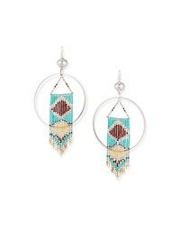 Devon Leigh Round Southwestern Bead Dangle Earrings Turquoise