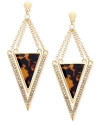 Guess Gold Tone And Leopard Epoxy Triangle Drop Earrings