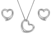 Ibb 9Ct White Gold Heart Necklace And Stud Earrings Set White
