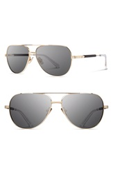 Shwood 'Redmond' 53Mm Titanium And Wood Aviator Sunglasses Gold Ebony Grey