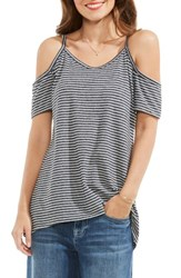 Vince Camuto Women's Two By Studio Stripe Knit Cold Shoulder Top