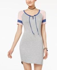 Ultra Flirt Juniors' Lace Up T Shirt Dress Light Pastel Pink Gray
