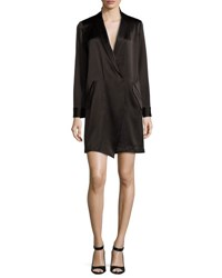 Long Sleeve Shawl Collar Satin Shirt Dress Black